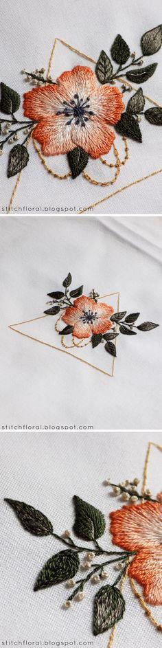 Needlepainting flower and geometry - #embroidery #handembroidery #stitching #needlework #needlepainting #longandshortstitch