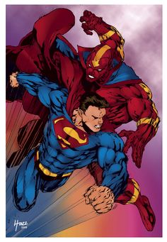 Superman vs. Red Tornado by Eric-Hazz