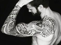 """47 Likes, 3 Comments - Tom Isaksen (@isaksen.tom) on Instagram: """"#tattoo #norsemythology #ragnarok #Jörmungandr #odin #fenris #meatshoptattoo #sleevetattoo"""""""
