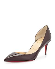 Iriza+Patent+Red-Sole+Half-d\'Orsay+Pump,+Burgundy+by+Christian+Louboutin+at+Neiman+Marcus.
