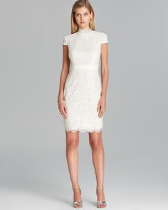 Cynthia Steffe Dress - Nell Corded Lace with Faux Leather   Bloomingdale's $325