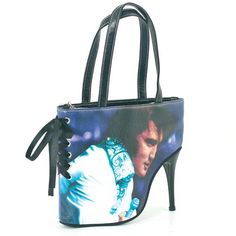 Blue Elvis Faux Leather Stiletto Bag