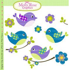 Bird Clip Art | Birds clip art , Digital Clip Art birds and flowers , Invitation ...