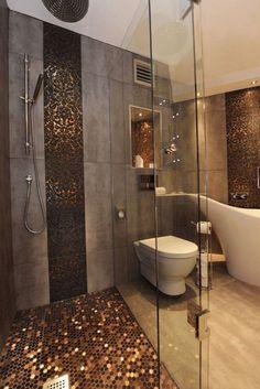 Gold tiled bathroom