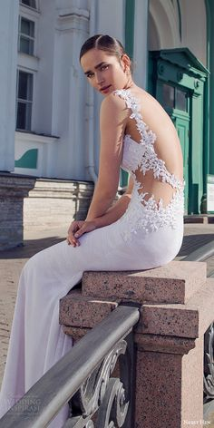 nurit hen 2016 bridal sleeveless sweetheart lace straps sheath wedding dress (02) sexy elegant bv open back