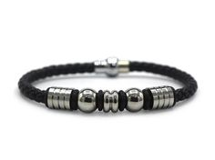 Decorative Leather Bracelet Stainless Steel Accents Magnetic Clasp (Silver)