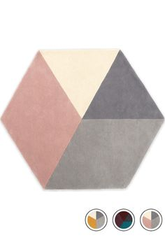 MADE Medium Hexagon Wool Rug 150 x Pink & Grey. Hagen Floor Rugs Collection from MADE. Cream And Pink Bedroom, Pink Gray Bedroom, Cream Bedrooms, Cream Living Rooms, Grey Bedding, Living Room Grey, Grey Carpet Bedroom, Bedroom Colours, Teen Bedrooms