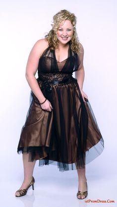 Plus Size Prom Dresses, Affordable short halter top neckline tea-length prom dress t331135, prom dress