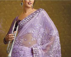 Lavender Net Saree