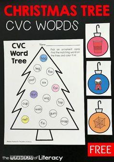 This Christmas tree cvc word match printable activity is so fun for practicing short vowel word work with preschoolers and kindergarteners! #kindergarten #iteachk #teachersfollowteachers