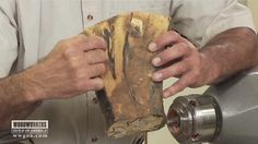 Learn the step-by-step woodworking process for turning a bowl made from crotch wood.