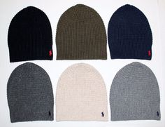 Polo Ralph Lauren Men s Waffle Knit Skull Cap Beanie Hat NWT Black Blue  Gray Tan   fd95860973ac