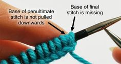 The angle of the final stitch