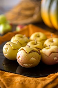 Peanut Butter Apple-Lanterns | Vegan Yack Attack