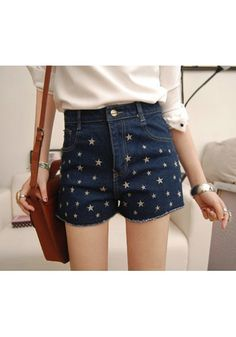 Embroidery Stars Shorts - Dark Blue
