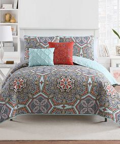 This Blue & Orange Yara Five-Piece Quilt Set by Victoria Classics is perfect! #zulilyfinds