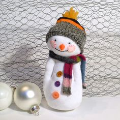 Sock Snowman - white with hat & scarf