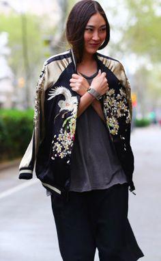 Zara embroidered baseball jacket and culottes