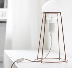Agraffé, the essential wire table lamp created by Italian designer Giulia Agnoletto. Lighting Concepts, Lighting Design, Creative Lamps, I Love Lamp, Amazing Spaces, Light Project, Unique Lighting, Interior Lighting, Modern Interior Design