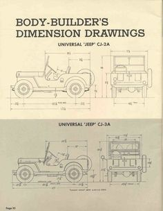 Jeep CJ-2A and CJ-3A dimensions