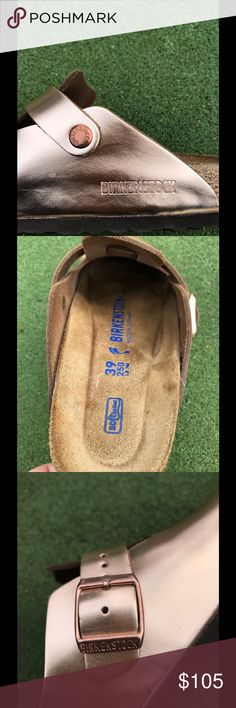 Birkenstock Boston Copper Leather Size 39 Birkenstock LEATHER Boston Soft Footbed Metallic Copper Size 39 Narrow (Ladies 8-8.5).   Per Birkenstock, Narrow width accommodates both narrow and normal width feet with adjustable strap.  No box.  Only worn a few times around the house.  Soles and cork in like new condition.  Slight scratches on uppers that are visible in pictures.   Smoke free home.  No trades.  To learn more about Birkenstocks and sizing visit my blog www.ilovebirkenstocks.com…