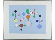 Ernst Mether-Borgström: Fringilla coelebs, vaalean sininen, 1974, serigrafia,  48x63 cm, edition 21/100 - Hagelstam & Co A131