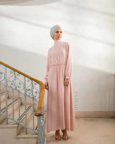 Blossom your way into Spring with our pretty pastel dresses perfectly designed for any occasion! - Pastel Pink High Neck #Maxi #Dress + Feather Grey Rayon #Hijab - www.inayah.co