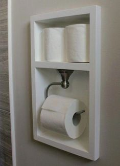Excellent space saving idea for a small bathroom.: Custom toilet paper holder - Excellent space saving idea for a small bathroom.: Custom toilet paper holder Best Picture For v - Bathroom Renos, Laundry In Bathroom, Simple Bathroom, Basement Bathroom, Bathroom Renovations, Bathroom Storage, Home Remodeling, Bathroom Ideas, Bathroom Organization