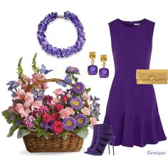 Spring Bouquet in Purple by gemique on Polyvore featuring polyvore, fashion, style, Diane Von Furstenberg, Giuseppe Zanotti and Versus