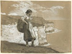 Winslow Homer Flamborough Head, England, 1882. Maggie Storey models.  Graphite and opaque white watercolor on textured, tan laid paper with red and blue fibers.