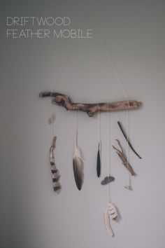 DIY Drift Wood Feather Mobile