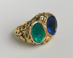 Ring. Florence Koehler (1861–1944). Date: ca. 1905. United States; Midwest, Chicago, Illinois. Gold, emerald, sapphire, and enamel