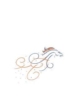 Feminine Denver Broncos design.  Would be a neat tattoo design.