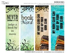 BOOKMARKS ~ Printable BOOK Nerd Bookmarks - Instant Download - DIY, Craft, Reading, Books and Zines, Bookclub, Eat Sleep Read, Big Books  BOOK Nerd Bookmarks! Printable bookmarks. DIY and make personalized gifts for all your family and friends. After many requests for me to design