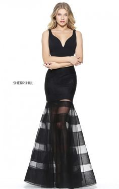 50897 - SHERRI HILLMermaid gown with a v-neck bodice and striped skirt.   New Braunfels Austin  San Antonio Prom Black Dress Prom Shop