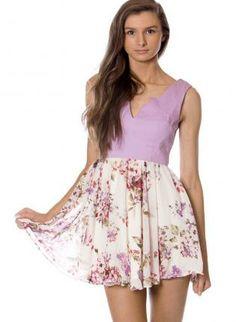 Floral Print Dress with Fitted Purple Top & Chiffon Skirt,  Dress, flower print  mini dress  sleeveless, Chic