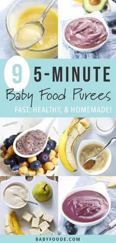 making your own homemade baby food seems intimidating, you want to check out these NINE baby food purees that you can make in just FIVE minutes. Each recipe is healthy, fast, and delicious! Start making your own homemade baby food purees today! Baby Puree Recipes, Pureed Food Recipes, Baby Food Recipes, Gourmet Recipes, Family Recipes, Healthy Baby Food, Healthy Sweet Snacks, Fast Healthy Meals, Food Baby