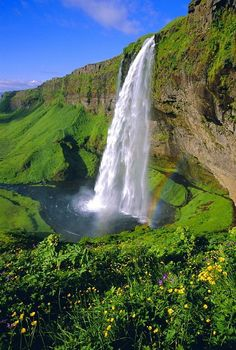 Seljalandsfoss waterfall in the south of the island, Iceland – Seljalandsfoss-Wasserfall im Süden der Insel, Island – Beautiful Waterfalls, Beautiful Landscapes, Natural Waterfalls, Places To Travel, Places To See, Landscape Photography, Nature Photography, Scenic Photography, Night Photography