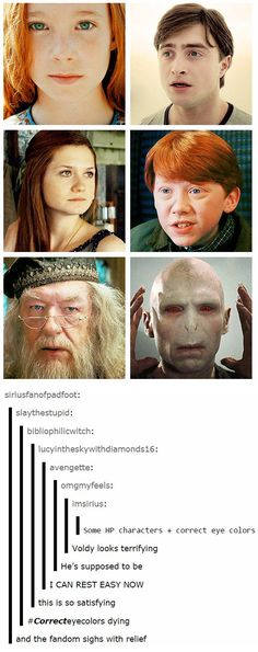 Correct eye colors in Harry Potter