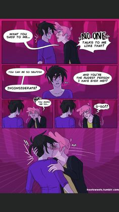 Pg 72 Just Your Problem (I Never Said You Had To Be Perfect) by Hootsweets on Deviantart. Marshall Lee X Prince Gumball, Marshall Lee Adventure Time, Adventure Time Comics, Gay Comics, Cute Comics, Abenteuerzeit Mit Finn Und Jake, Adveture Time, Marceline And Princess Bubblegum, Desenhos Cartoon Network