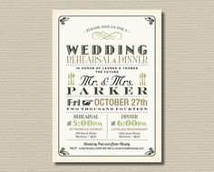 Printable Rehearsal Dinner Invitation - Vintage Poster Gold and Olive on aged background (RD05)