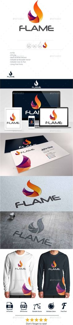 Flame - Logo Design Template Vector #logotype Download it here: http://graphicriver.net/item/flame-logo-/10943562?s_rank=91?ref=nesto