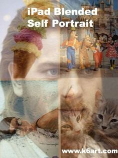 iPad blended self portrait uses free apps. Students create a photo collage of their favorite things, then blend with a selfie. 40 minute lesson. Post includes video tutorial.