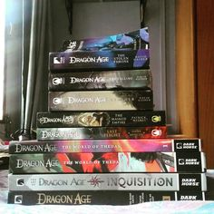 #dragonage DRAGON AGE BOOKS! #thesilentgrove #thosewhospeak #untilwesleep #thestolenthrone #thecalling #themaskedempire #asunder #lastflight #theworldofthedas1 #theworldofthedas2 #theartofdragonageinquisition
