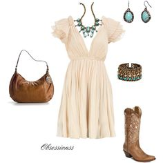 Love the color and style of this dress with cowboy boots!