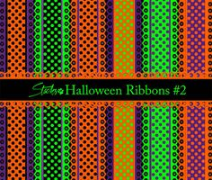 Awesome Halloween Ribbons Patterns #2. This is one of 2 sets of Halloween ribbons patterns I have assembled. This collection features polka dots an eyelet lace trim with a pumpkin motif and combinations of Halloween and autumn colors. All coordinate with other Halloween sets I have submitted on Brusheezy. This set contains 60+ ribbon designs in large high resolution .png format. I also have included a high resolution .png of the pumpkin eyelet lace design and a pattern file with the polka…