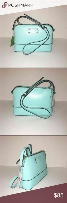 """Kate Spade Wellesley Hanna Color: freshair----- small leather crossbody that measures 9"""" in length, 6.5"""" in height, and 2.5"""" in depth. NWT! kate spade Bags Crossbody Bags"""