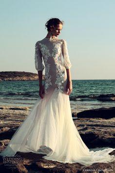 christos costarellos fall 2017 bridal half bishop sleeves jewel neck sheer bodice heavily embellished bodice elegant sexy lace trumpet wedding dress medium train (12a) mv