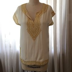 Boutique silk short sleeve tunic blouse 100% Silk chiffon short sleeve blouse, gold metallic thread hand embroidery, slit hem, v-neck, size S 525 America Tops Blouses