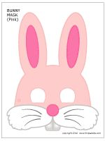 Printable Pink Bunny Mask - I have this in black and white too.